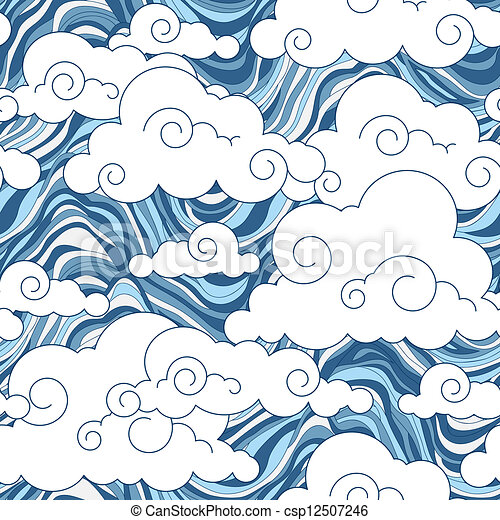 Chinese Cloud Drawings Vintage Cloud Chinese Seamless