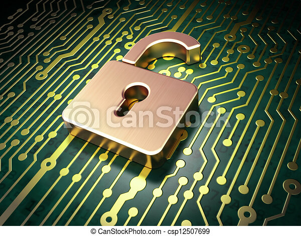 Security concept: circuit board with Opened Padlock icon - csp12507699