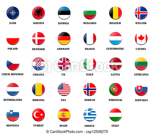 national flags from NATO members - csp12508279