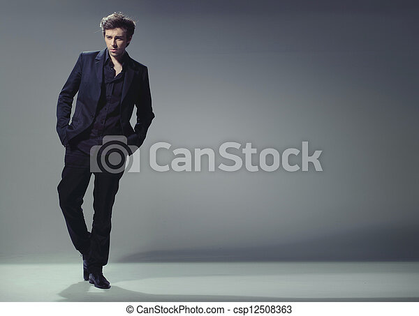 full length trendy elegant and handsome man - csp12508363