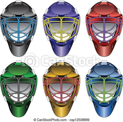 Vecteurs eps de gardien de but hockey masques glace - Gardien de but dessin ...