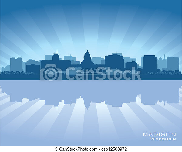 Madison, Wisconsin skyline city silhouette - csp12508972