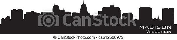 Madison, Wisconsin skyline. Detailed city silhouette. - csp12508973