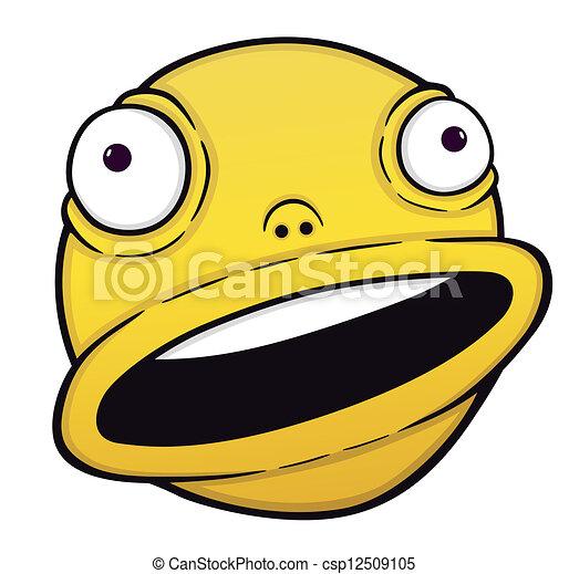 Vector Clip Art of Orange crazy smile, cartoon illustration ...