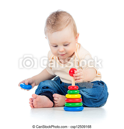 cute baby boy playing with colorful toy isolated on white backgr - csp12509168