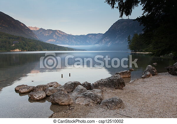 Beautiful view. Lake, mountain, reflection. Lake Bohinj. Slovenia - csp12510002