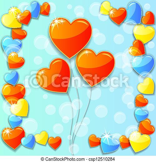 Vector blue Valentine Day Card - csp12510284