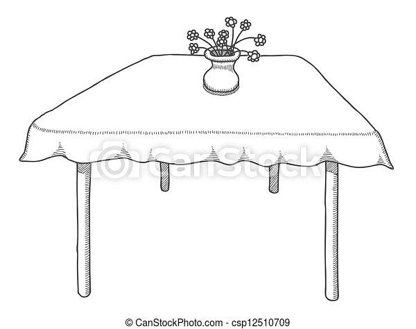 Tisch gezeichnet  Vektor Clipart von gezeichnet, vektor, tisch, abbildung, hand ...