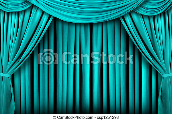 Abstract Teal Theatre Stage Drape Background - csp1251293