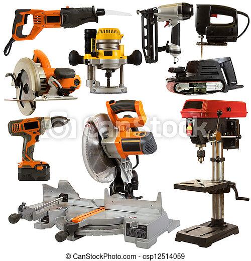 herramientas, blanco, Plano de fondo, aislado, potencia - csp12514059