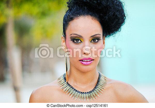Black woman with fantasy make up - csp12514161