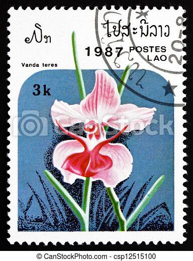 Postage stamp Laos 1987 Vanda Teres, Orchid, Flower - csp12515100