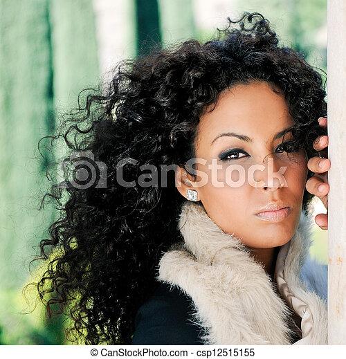 婦女, 模型, 時裝, 黑色, 年輕 - csp12515155