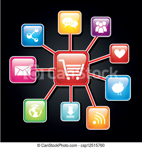 Clip Art Vector Of App Store Colorful Apps Over Black