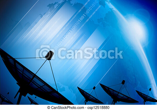 Satellite dish transmission data on background digital blue  - csp12518880