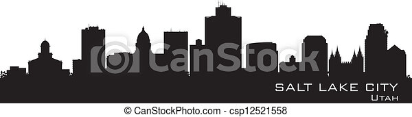 Salt Lake City, Utah skyline. Detailed city silhouette - csp12521558