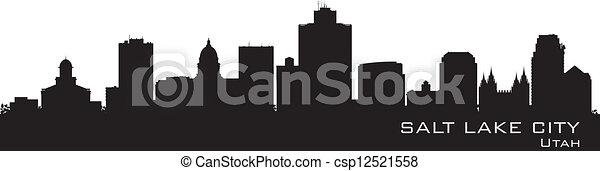 Salt Lake City, Utah skyline. Detailed city silhouette  - csp12521558