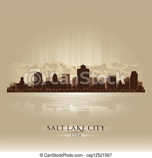 Salt Lake City, Utah skyline city silhouette - csp12521567