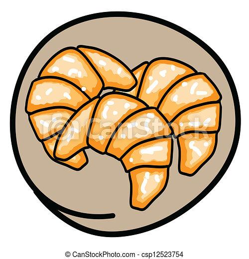 French Croissant Clip Art Three fresh croissants on