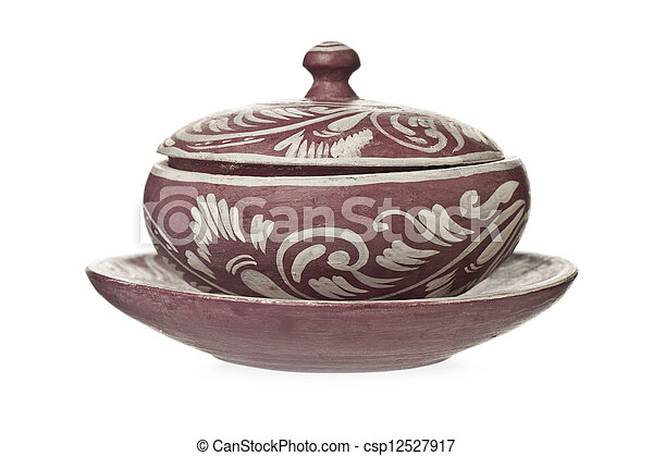 decorative ceramic pot with lid - csp12527917
