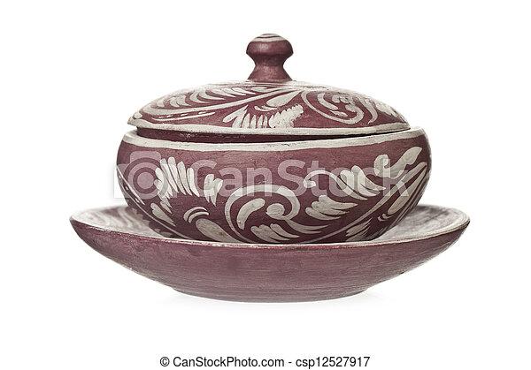 decorative ceramic pot with lid - csp12527917