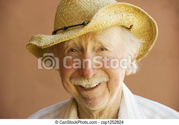 Senior Citizen Man in a Cowboy Hat - csp1252824
