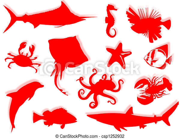 Sea-life silhouette - csp1252932