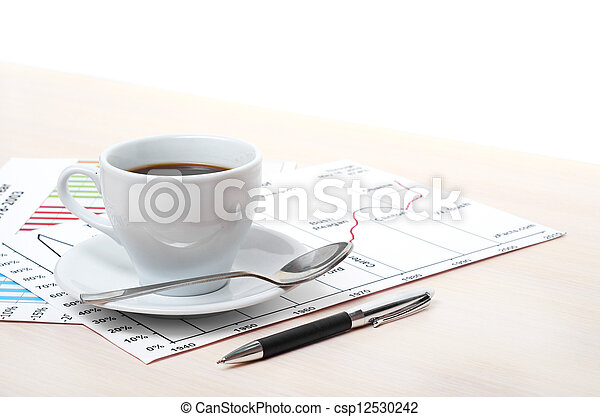 Accounting. Cup of coffee on document. chart and diagram - csp12530242