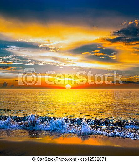 över, solnedgång, hav, färgrik - csp12532071