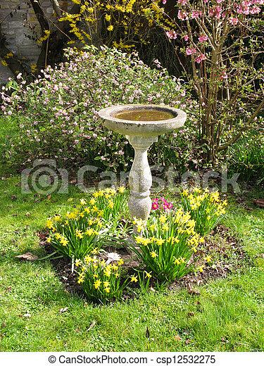 Beautiful ... Bird Bath In Country Garden