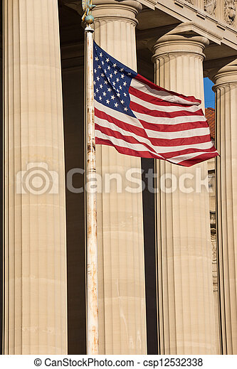 American Flag and Columns of Government Building - csp12532338