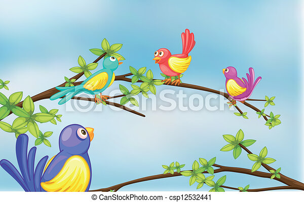 Colorful birds talking
