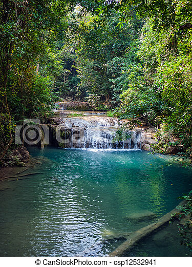 Waterfall in the rainforest. Erawan National Park in Thailand. - csp12532941