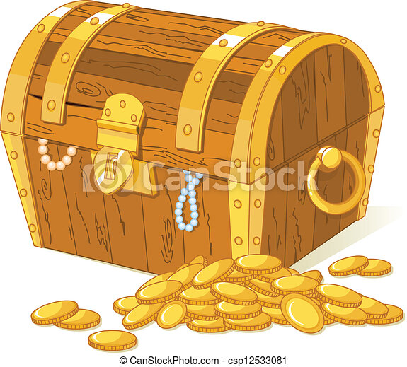 of Treasure chest and pile of gold csp12533081 - Search Clip Art ...