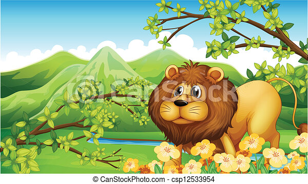 A lion in a green mountain area - csp12533954