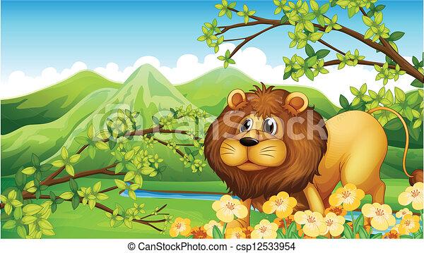 A lion in a green mountain area - csp12533954