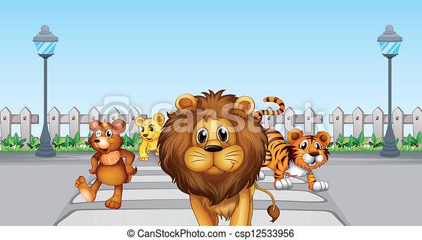 矢量-野, 动物, 道路