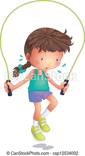 Vector Clipart of A little girl playing skipping rope - Illustration of a ...
