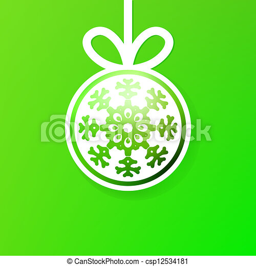 Christmas ball cutted from paper on green. + EPS8 - csp12534181