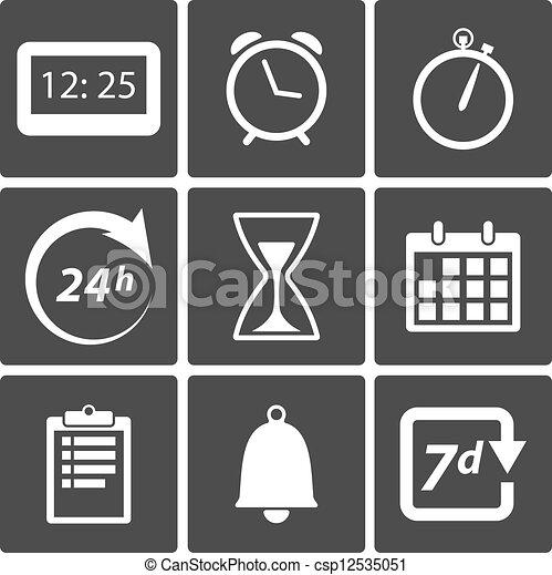 矢量-钟, 时间, 图标