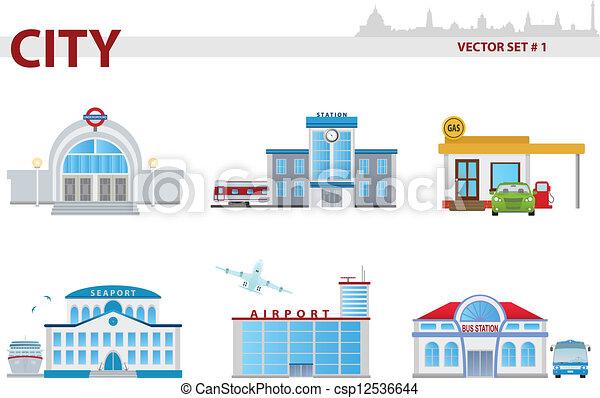 公众, 建筑物, 卡通漫画, 放置, 1, m 萾ro, 铁路, 站, 海港, 机场图片