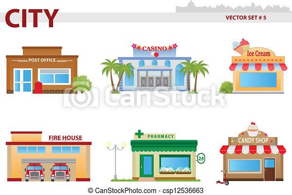 Cartoon Post Office Building Post office, casino, icecream