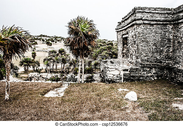 Ancient Mayan Architecture and Ruins located in Tulum, Mexico off the Yucatan Peninsula - csp12536676