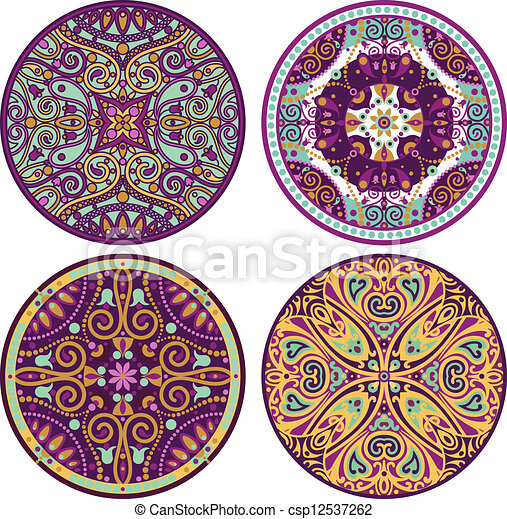 clip art vecteur de couleur mandala ensemble 4 vecteur ensemble de 4 csp12537262. Black Bedroom Furniture Sets. Home Design Ideas