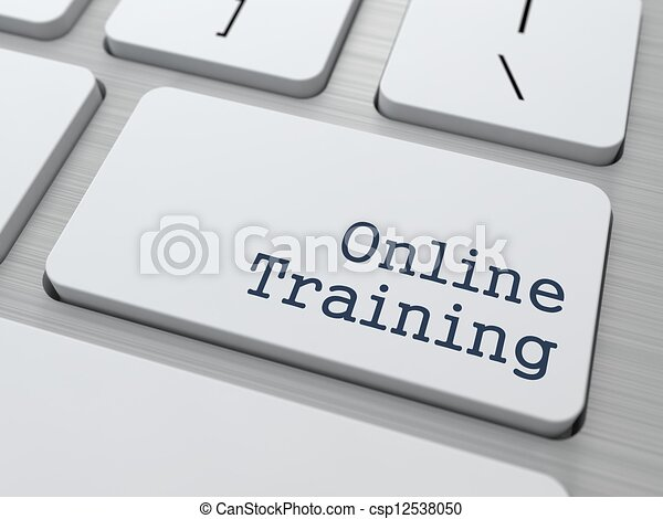 Online Training - Button on Keyboard. - csp12538050