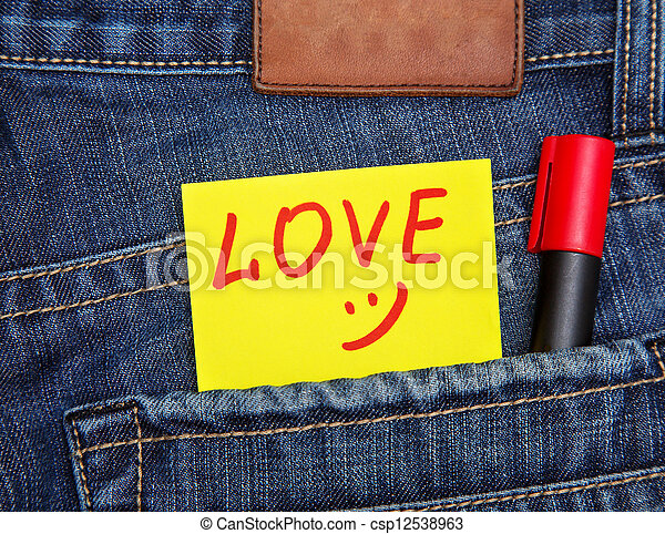 Valentine's day card in jeans pocket  - csp12538963
