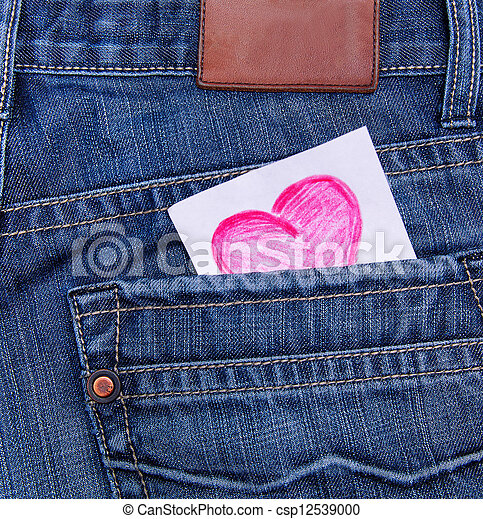 Valentines day card in jeans pocket  - csp12539000