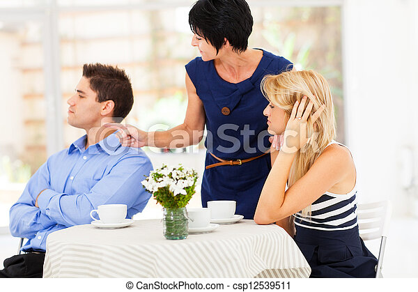 mother pointing finger at son-in-law  - csp12539511