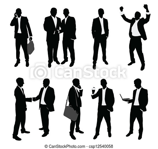 business people silhouettes - csp12540058