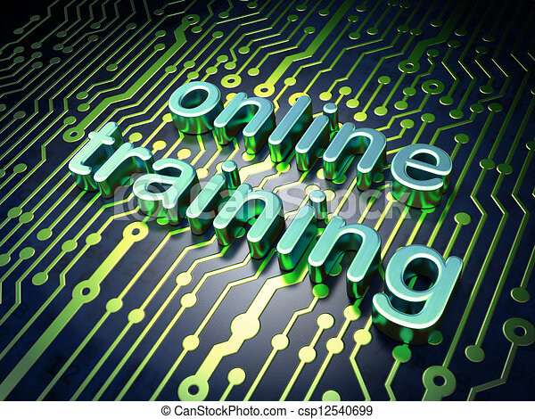 Education concept: circuit board with word Online Training - csp12540699